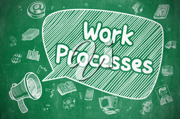 Work Processes on Speech Bubble. Cartoon Illustration of Shouting Mouthpiece. Advertising Concept. Business Concept. Loudspeaker with Text Work Processes. Doodle Illustration on Green Chalkboard.