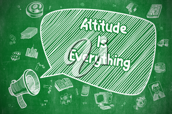 Attitude Is Everything on Speech Bubble. Cartoon Illustration of Yelling Megaphone. Advertising Concept.