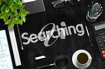 Black Chalkboard with Searching Concept. 3d Rendering.