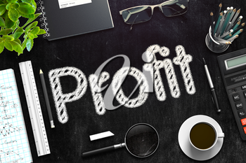 Business Concept - Profit Handwritten on Black Chalkboard. Top View Composition with Chalkboard and Office Supplies on Office Desk. 3d Rendering. Toned Illustration.