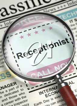 Illustration of Small Ads of Job Search of Receptionist in Newspaper with Magnifying Lens. Newspaper with Small Ads of Job Search Receptionist. Concept of Recruitment. Selective focus. 3D Render.