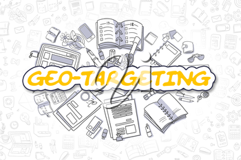 Cartoon Illustration of Geo-Targeting, Surrounded by Stationery. Business Concept for Web Banners, Printed Materials.