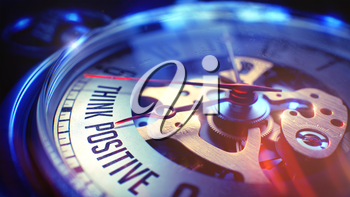 Business Concept: Think Positive Text. on Pocket Watch Face with CloseUp View of Watch Mechanism. Time Concept with Selective Focus and Lens Flare Effect. 3D Illustration.