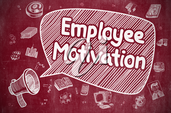 Shrieking Mouthpiece with Wording Employee Motivation on Speech Bubble. Doodle Illustration. Business Concept.
