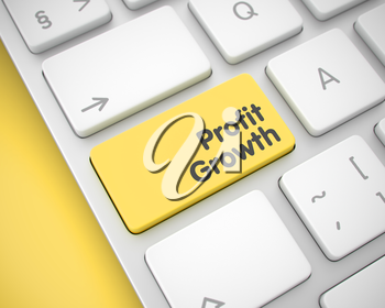 Business Concept. Yellow Key on the White Keyboard. Online Service Concept with Aluminum Enter Yellow Keypad on the Keyboard: Profit Growth. 3D Illustration.