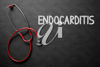 Top View of Red Stethoscope on Black Chalkboard with Medical Concept - Endocarditis. Medical Concept: Endocarditis on Black Chalkboard. 3D Rendering.