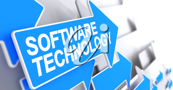 Software Technology, Text on Blue Arrow. Software Technology - Blue Pointer with a Inscription Indicates the Direction of Movement. 3D Illustration.