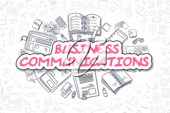 Business Communications - Hand Drawn Illustration with Business Doodles. Magenta Inscription - Business Communications - Cartoon Business Concept.