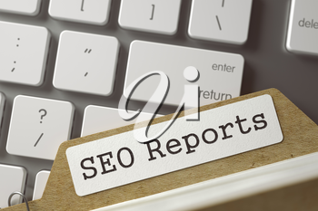 SEO Reports written on  Card Index on Background of White PC Keyboard. Archive Concept. Closeup View. Blurred Toned Image. 3D Rendering.