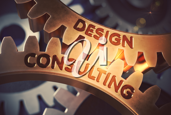 Design Consulting - Illustration with Lens Flare. Golden Metallic Cog Gears with Design Consulting Concept. 3D Rendering.