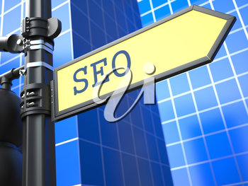 SEO on Yellow Roadsign on Blue Urban Background. Internet Concept.
