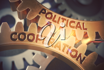 Political Cooperation on Mechanism of Golden Metallic Gears with Glow Effect. Political Cooperation - Industrial Illustration with Glow Effect and Lens Flare. 3D Rendering.