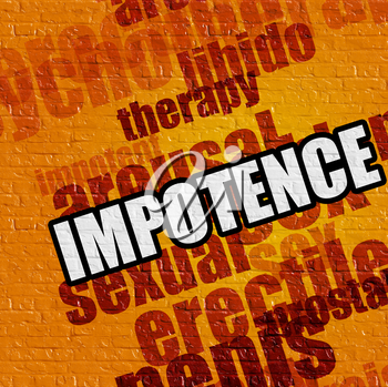 Health concept: Impotence - on Brick Wall with Word Cloud Around . Yellow Brick Wall with Impotence on the it .