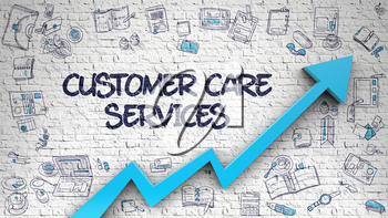 Customer Care Services - Improvement Concept with Hand Drawn Icons Around on the Brick Wall Background. Customer Care Services Drawn on White Brick Wall. Illustration with Hand Drawn Icons. 3d.