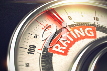 Rating Rate Conceptual Speedmeter with Message on the Red Label. Business or Marketing Concept. Dial with Red Needle Pointing the Caption Rating on Red Label. 3D Illustration.