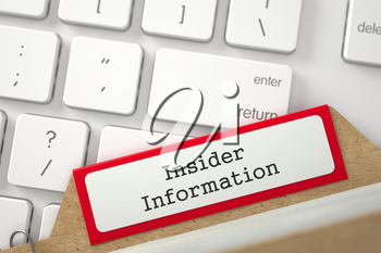 Insider Information. Red Index Card Overlies Modern Laptop Keyboard. Business Concept. Closeup View. Blurred Illustration. 3D Rendering.