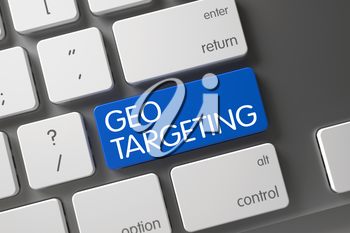 Geo Targeting Concept Laptop Keyboard with Geo Targeting on Blue Enter Key Background, Selected Focus. 3D.