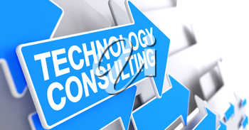 Technology Consulting - Blue Cursor with a Message Indicates the Direction of Movement. Technology Consulting, Text on the Blue Pointer. 3D.