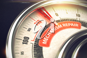 Conceptual Illustration of a Rev Counter with Red Needle Pointing to Maximum of Mechanism Repair. Horizontal image. 3D.