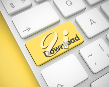 Online Service Concept: Download on the Modern Keyboard Background. Online Service Concept: Download on Modern Laptop Keyboard lying on the Yellow Background. 3D Render.