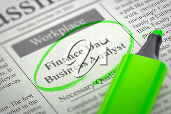 Finance Data Business Analyst - Job Vacancy in Newspaper, Circled with a Green Marker. Blurred Image. Selective focus. Job Search Concept. 3D Render.