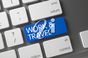 Modern Keyboard with Work and Travel on Blue Enter Button Background, Selected Focus. 3D.