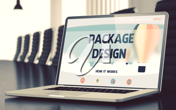 Package Design on Landing Page of Laptop Screen. Closeup View. Modern Conference Room Background. Blurred. Toned Image. 3D Render.