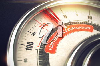 Metal Balance with Red Punchline Reach the Performance Evaluation. Illustration with Depth of Field Effect. 3D.