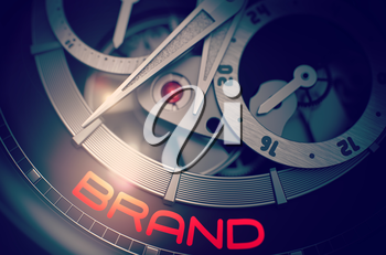 Vintage Pocket Watch with Brand on Face, Symbol of Time. Elegant Wristwatch with Brand Inscription on Face. Business and Work Concept with Glow Effect and Lens Flare. 3D Rendering.