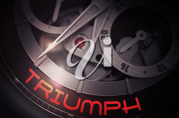Men Wrist Watch Machinery Macro Detail with Inscription Triumph. Triumph on the Old Pocket Watch, Chronograph Up Close. Time and Work Concept with Lens Flare. 3D Rendering.