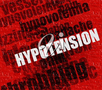 Modern medicine concept: Hypotension - Low Blood Pressure on the Red Wall . Hypotension - Low Blood Pressure - on the Wall with Word Cloud Around .
