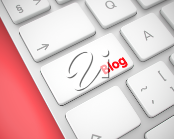 Business Concept: Blog on the White Keyboard Background. Modern Laptop Keyboard Button Showing the TextBlog. Message on Keyboard White Button. 3D Render.