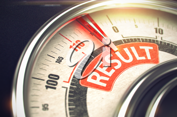 Result - Conceptual Compass with Red Inscription on It. Horizontal image. Result Rate Conceptual Rev Counter with Text on Red Label. Business or Marketing Concept. 3D.