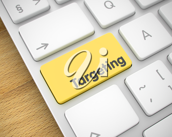 Service Concept: Targeting on the Metallic Keyboard lying on the Wood Background. Business Concept. Yellow Key on the Modern Laptop Keyboard. 3D Illustration.
