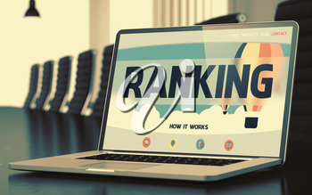 Ranking - Landing Page with Inscription on Mobile Computer Display on Background of Comfortable Conference Room in Modern Office. Closeup View. Blurred. Toned Image. 3D Render.