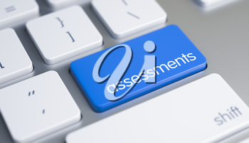 Metallic Keyboard Button Showing the Text Assessments. Message on Blue Keyboard Keypad. Close View View on Modern Keyboard - Assessments Blue Button. 3D Render.