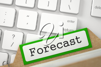 Forecast Concept. Word on Green Folder Register of Card Index. Closeup View. Selective Focus. 3D Rendering.