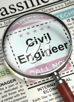 Illustration of Classified Ad of Civil Engineer in Newspaper with Magnifying Lens. Magnifying Lens Over Newspaper with Small Ads of Job Search of Civil Engineer. Hiring Concept. Selective focus. 3D.