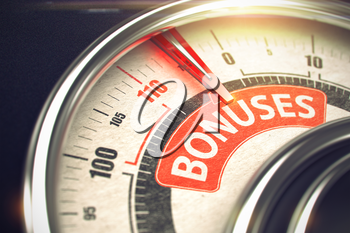 3D Illustration of a Scale with Red Needle Pointing the Inscription Bonuses. Business or Marketing Concept. Bonuses Rate Conceptual Speed Meter with Caption on Red Label. Business Concept. 3D Render.