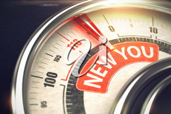 New You Rate Conceptual Gauge with Caption on Red Label. Business or Marketing Concept. 3D of a Compass with Red Needle Pointing the Caption New You. Business or Marketing Concept. 3D Render.