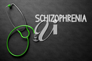 Schizophrenia. Medical Concept, Handwritten on Black Chalkboard. Top View Composition with Chalkboard and Green Stethoscope. Medical Concept: Schizophrenia on Black Chalkboard. 3D Rendering.