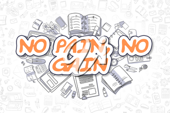 Orange Text - No Pain, No Gain. Business Concept with Cartoon Icons. No Pain, No Gain - Hand Drawn Illustration for Web Banners and Printed Materials.