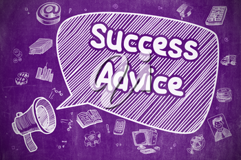 Success Advice on Speech Bubble. Hand Drawn Illustration of Shrieking Horn Speaker. Advertising Concept.