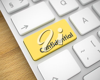 Closeup View on Modern Keyboard - Confidential Yellow Key. Business Concept with Conceptual Enter Yellow Keypad on the Keyboard: Confidential. 3D Illustration.