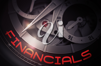 Luxury Wristwatch with Financials Inscription on Face. Financials - Black and White Closeup of Wristwatch Mechanism. Work Concept Illustration with Glow Effect and Lens Flare. 3D Rendering.