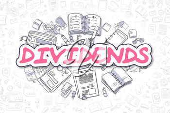 Cartoon Illustration of Dividends, Surrounded by Stationery. Business Concept for Web Banners, Printed Materials.