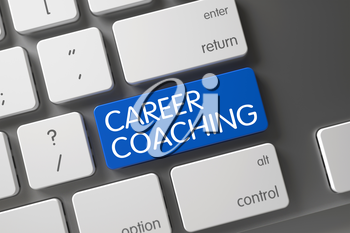 Career Coaching Concept Computer Keyboard with Career Coaching on Blue Enter Key Background, Selected Focus. 3D Illustration.