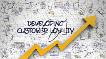 Developing Customer Loyalty - Modern Line Style Illustration with Hand Drawn Elements. White Brickwall with Developing Customer Loyalty Inscription and Orange Arrow. Business Concept. 3d.