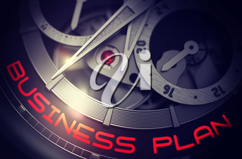 Business Plan on Face of Elegant Wristwatch, Chronograph Up Close. Vintage Watch Machinery Macro Detail and Inscription - Business Plan. Work Concept with Lens Flare. 3D Rendering.