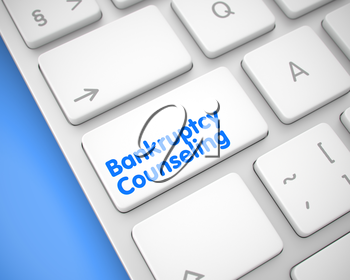 Up Close View on the Modern Keyboard - Bankruptcy Counseling White Keypad. Service Concept: Bankruptcy Counseling on the White Keyboard lying on the Blue Background. 3D Illustration.